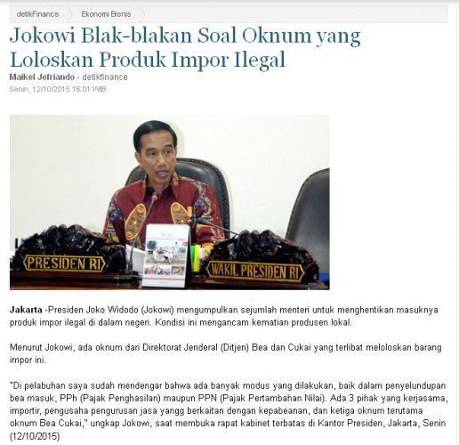 Jokowi akan memberantas barang impor borongan ilegal