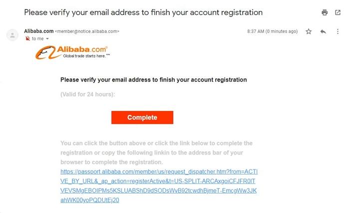 Email Verification Alibaba.com