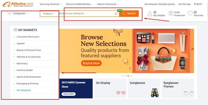 Mencari produk di Kategori produk Alibaba.com atau search box