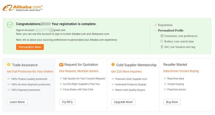 Pendaftaran Alibaba Berhasil
