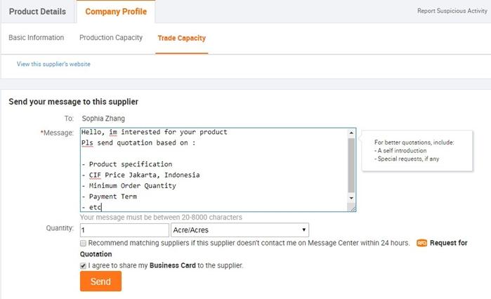 Request quotation kepada seller di Alibaba.com